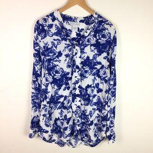 Soft Surroundings Blue Floral Long Sleeve Blouse